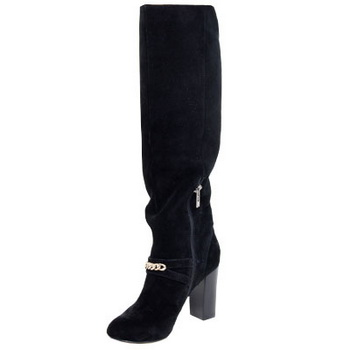 Yves Saint Laurent Suede Chain Knee Boots Black