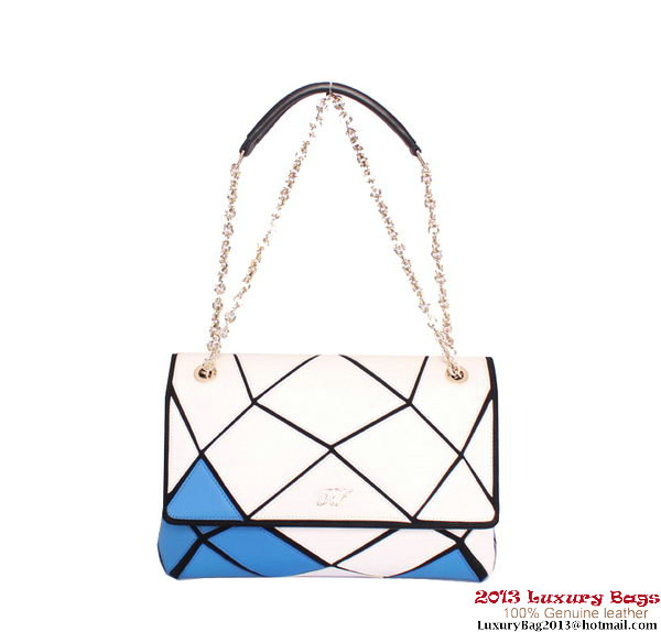 ROGER VIVIER Prismick Medium Calskin Leather Bag RV3608 White&Blue