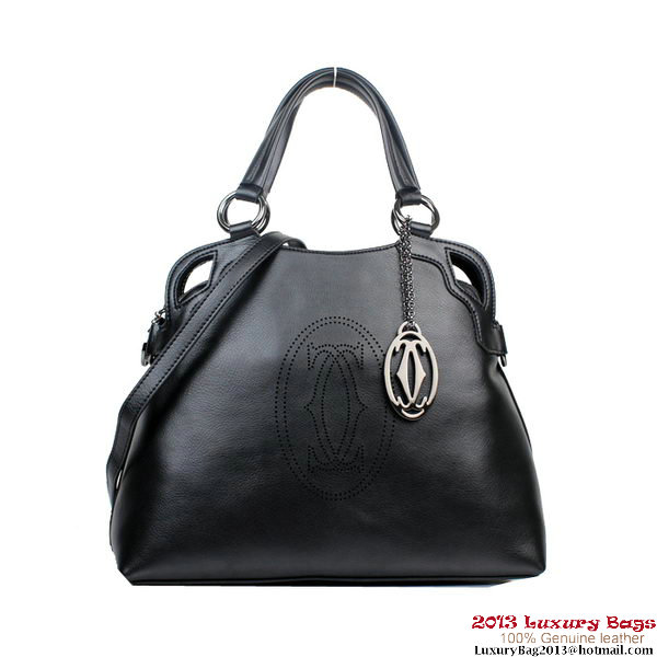 Cartier Marcello De Bag Calf Leather 1000926 Black