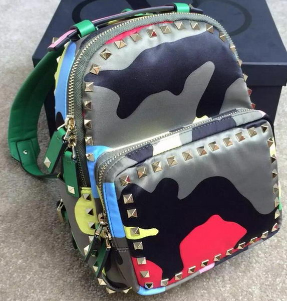 Valentino Mimetic-Effect Fabric Small Backpack VT13301TB