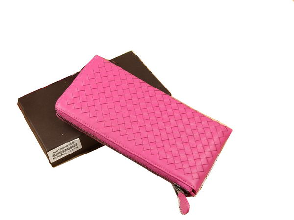 Bottega Veneta Intrecciato Nappa Zip Around Wallet BV114077 Rose