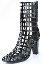YSL Cage ankle high heel boot Black