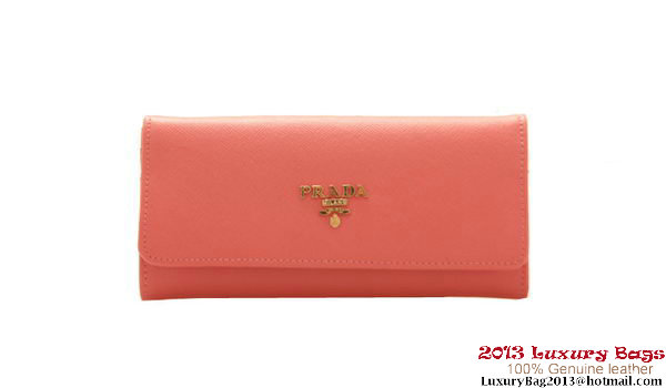 Prada Saffiano Leather Wallet 1M1168 Light Red
