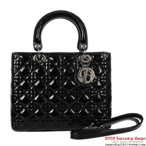 Lady Dior Bag Small Bag D9602 Black Patent Leather Silver