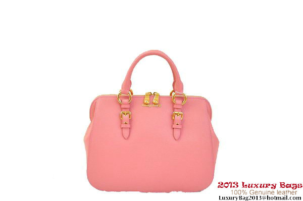 miu miu Pebble-Finish Madras Goat Leather Top-handle Bag RL0063 Pink