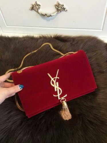 YSL Monogramme Cross-body Shoulder Bag Suede Leather 311218 Red