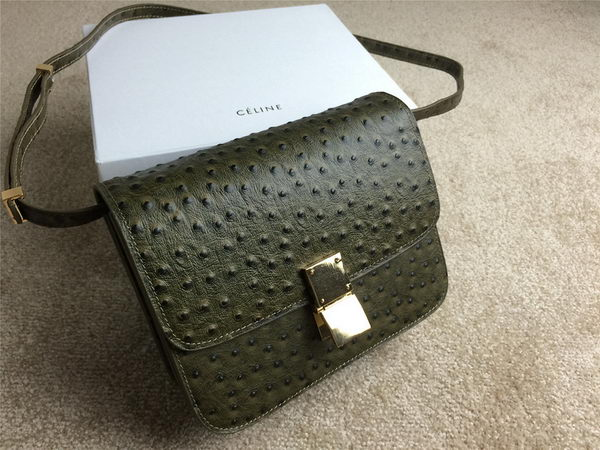 Celine Classic Box Small Flap Bag Ostrich Leather C11042 Dark Green