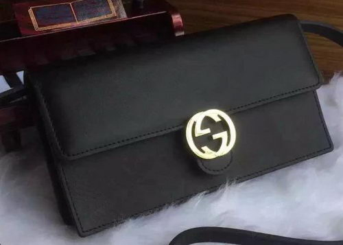 Gucci Calfskin Leather Wallet with Strap 369664 Black