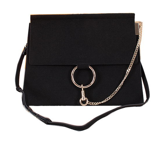 CHLOE Flap Shoulder Bag Suede Leather C1126 Black