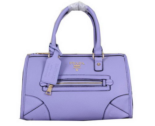 Prada Pebble Grainy Calf Shoulder Tote Bag BL0639 Lavender