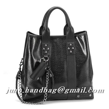 Gucci Medium Tote With Gucci Crest Trademark Studs 223589 Black