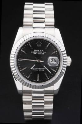 Rolex Datejust Silver Black Stainless Steel Watch-RD2411