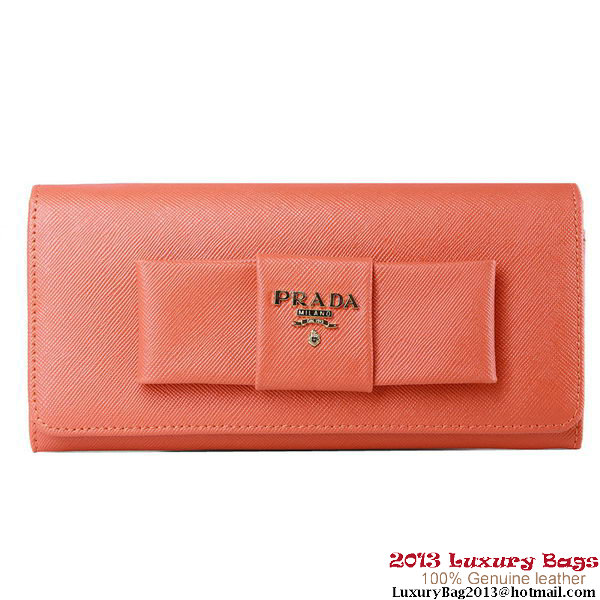Prada Saffiano Leather Wallet with Leather Bow 1M1148 Orange