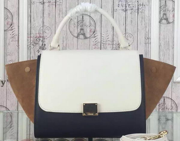 Celine mini Trapeze Bag Original Nubuck Leather CTA3345 White&Black&Wheat