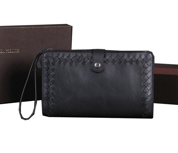 Bottega Veneta Intrecciato Leather Clutches BV1851 Black