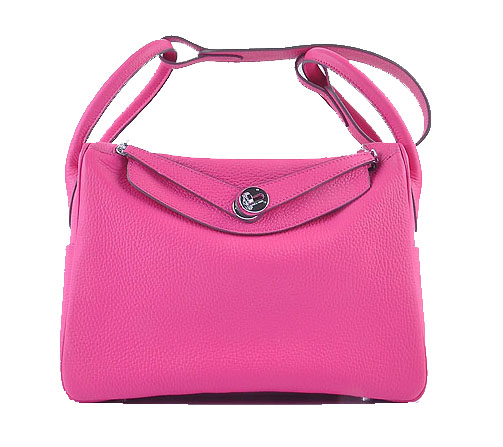 Hermes Lindy 30CM Grainy Leather Shoulder Bag H6207 Rosy