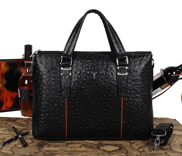 PRADA Ostrich Calf Leather Briefcase 31271 Black
