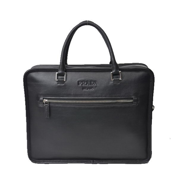 Prada Calfskin Leather Briefcase VA1052 Black