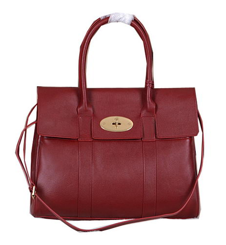 Mulberry Bayswater Tote Bag Natural Leather 5988 Burgundy