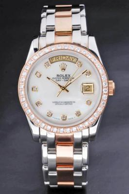 Rolex Day-Date Diamond Cutwork White Surface Watch-RD3744