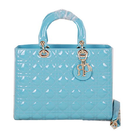 Christian Dior CD9603 Light Blue Patent Small Lady Dior Bag Gold