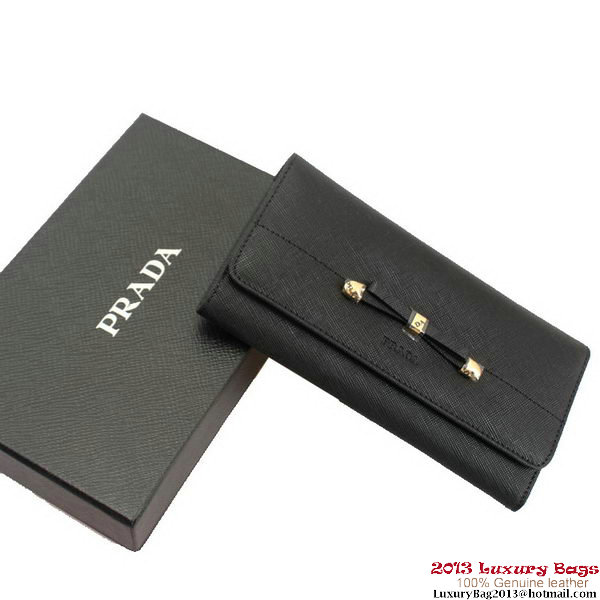Prada Saffiano Leather Bow Wallet 1M1134 Black