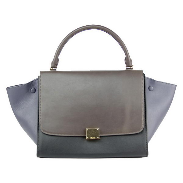 Celine Trapeze Bag Original Leather 88037 Brown&Black&Grey