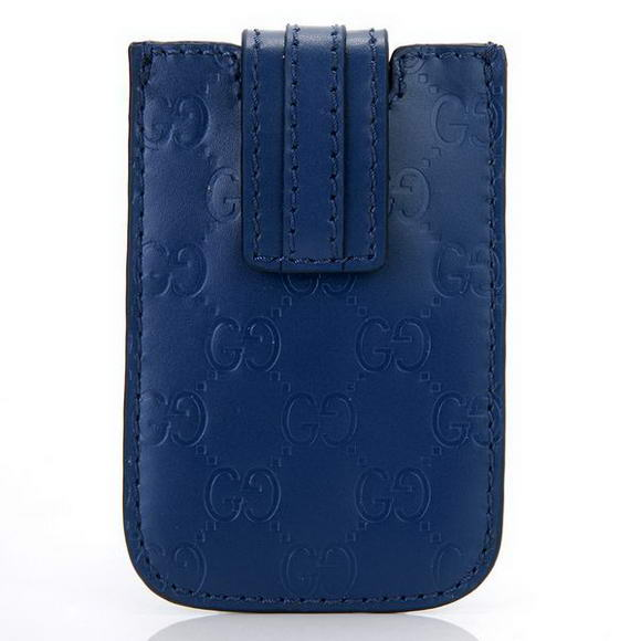 Gucci Embossed Leather iphone Case 210188 Blue