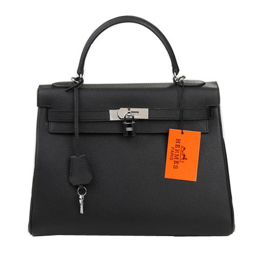 Hermes Kelly 32cm Shoulder Bag Black Original Leather K32 Silver