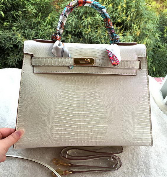 Hermes Kelly 32cm Shoulder Bag Lizard Leather K32LI OffWhite