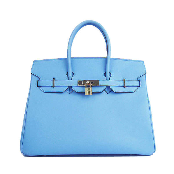 Hermes Birkin 35CM Tote Bag Skyblue Smooth Leather H6089 Gold