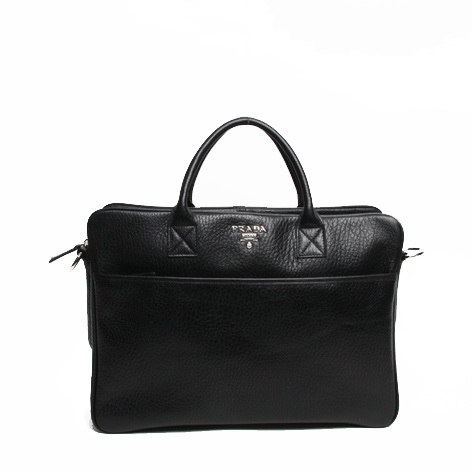 Prada Grainy Calf Leather Briefcase VR0025 Black