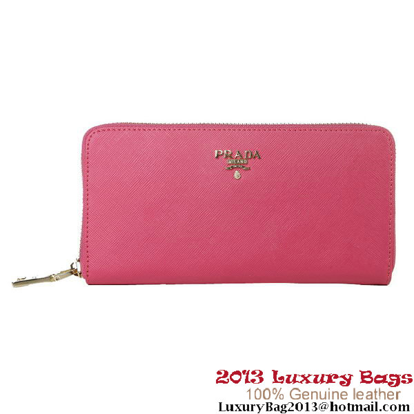 Prada Saffiano Calf Leather Wallet 1M1136 Rosy