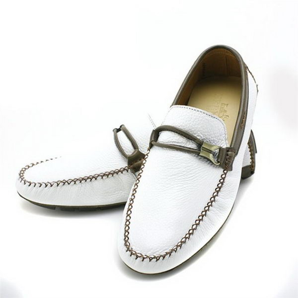 Hermes Calfskin Leather Men Casual Shoes HO0348 White