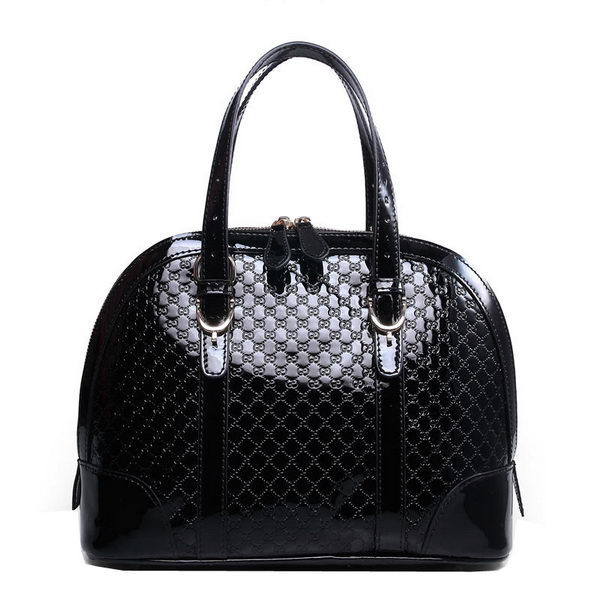 Gucci Nice Patent Microguccissima Leather Small Top Handle Bag 309617 Black
