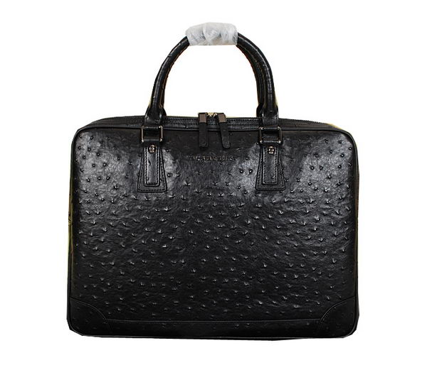 Burberry Ostrich Leather Mens Briefcase 99011 Black