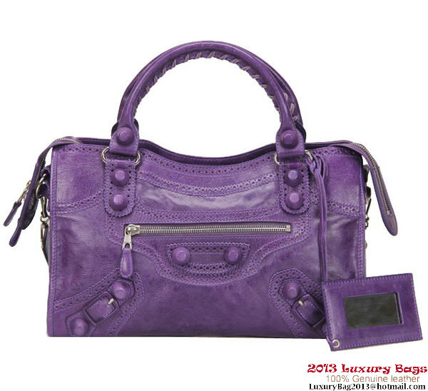 BALENCIAGA Classic City Handbag 85332 Purple
