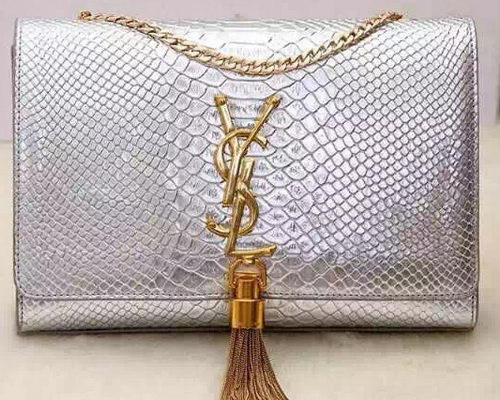 Yves Saint Laurent Monogramme Snake Leather Cross-body Bag Y32218 Silver