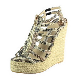 Jimmy Choo Zip Cage Espadrille Brown Snake Veins Leather