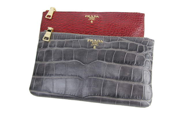 Prada Genuine Leather Croco Clutch Bag BL0338 Royalblue&Red