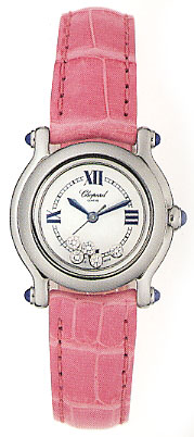 Chopard Happy Sport Series Diamond Steel Ladies Swiss Quartz Wristwatch 278245-23 in Pink