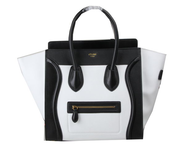Celine Luggage Mini Tote Bag Original Leather Ci3308 Black&White