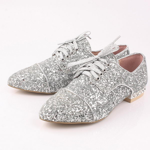 miu miu Casual Shoes Sequins Leather M308 Silver