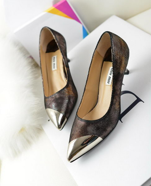 miu miu Sheepskin Leather Point-Toe Pumps MM2124 Silver