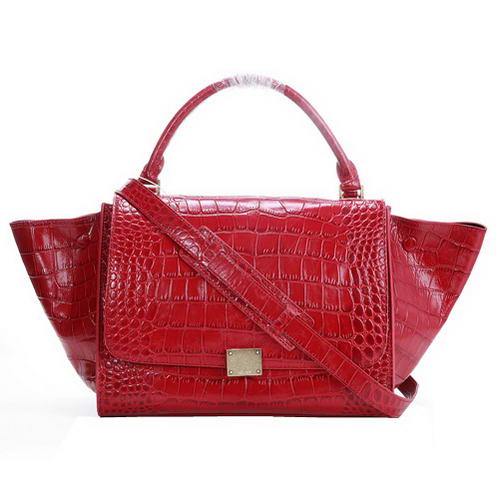 Celine Trapeze Bags Croco Leather 3042 Red