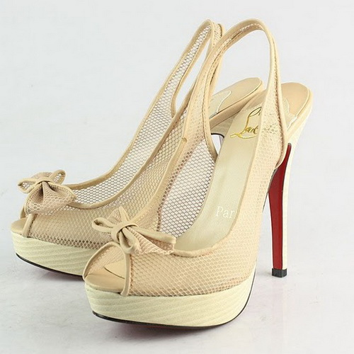 Christian Louboutin Exclu Fishnet Bow Slingback 130mm Apricot