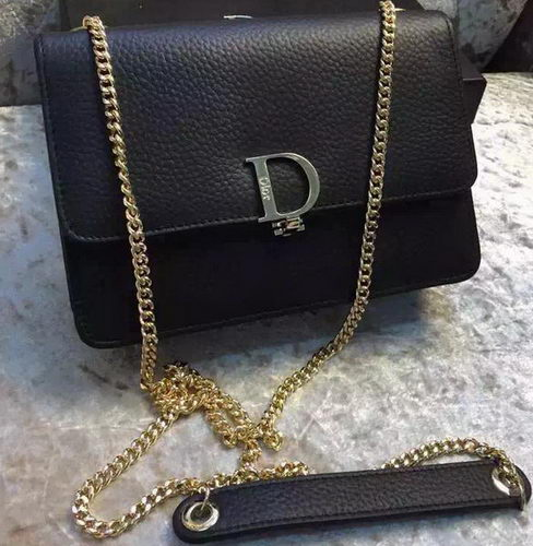 Dior Litchi Leather Flap Shoulder Bag D3356 Black
