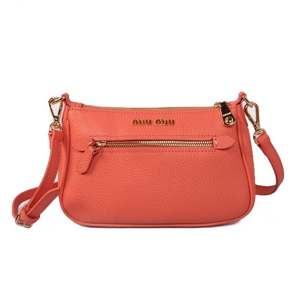 miu miu Original Grainy Leather Shoulder Bag RL1739 Light Red
