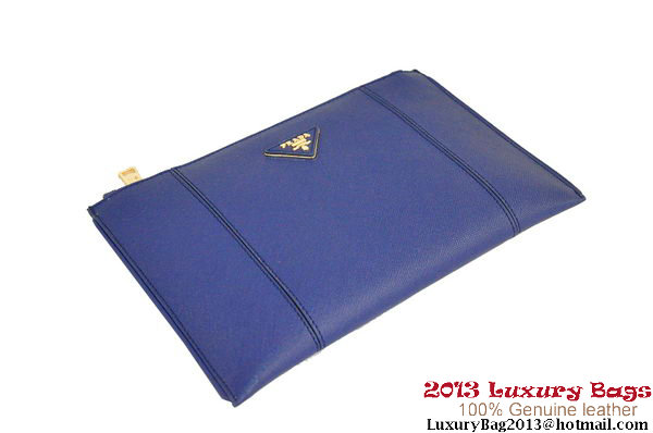 PRADA Saffiano Leather Clutch BP625 Blue