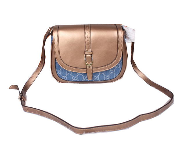 Gucci Nice Calf Leather with Denim Shoulder Bag 336749 Bronze